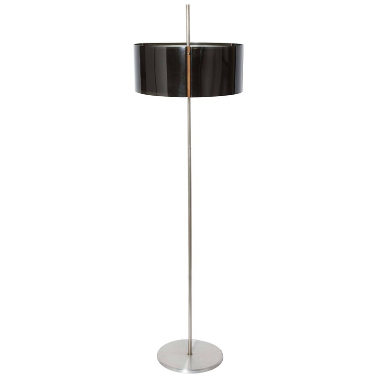 Brushed Aluminum Floor Lamp with Two Smoked Lucite Shades & Wood Clasps, 1960s
