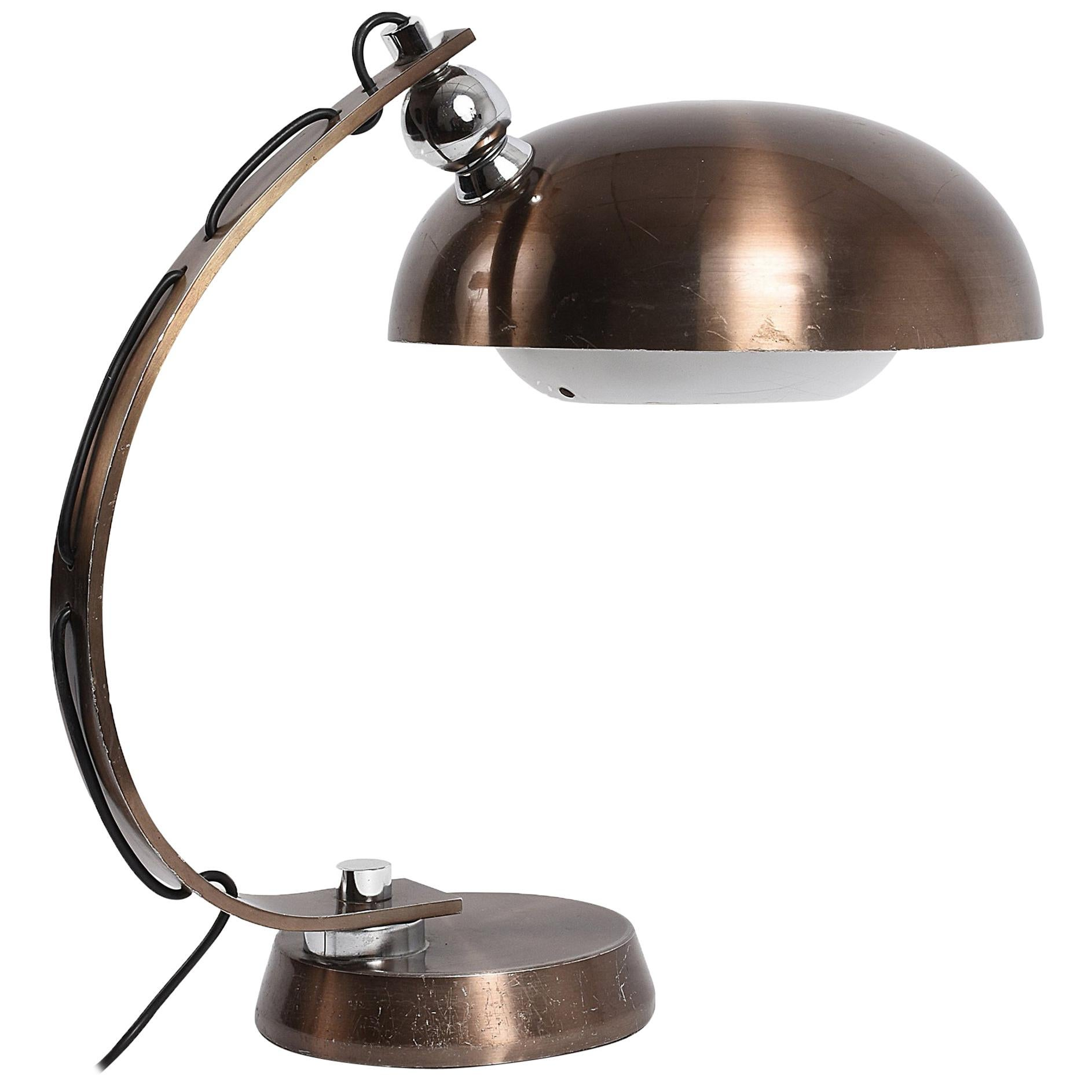 Brushed and Bronzed Aluminum Italian Table Lamp, 1970s Attributed to Arredoluce