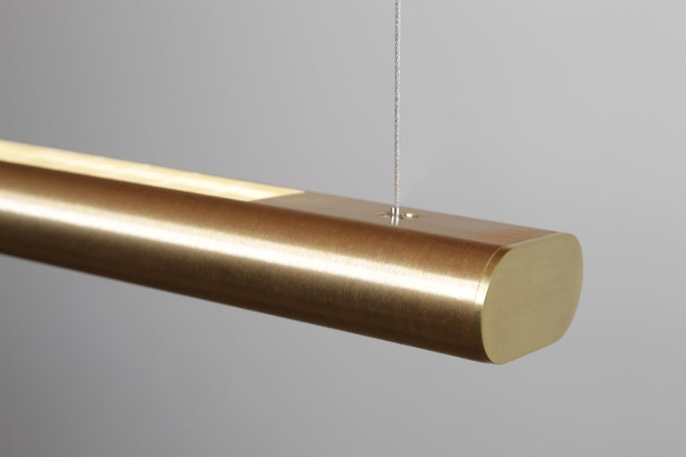 Minimalist Brushed Brass Linear Light, Modern and Minimal Horizontal Yakata Pendant Light For Sale