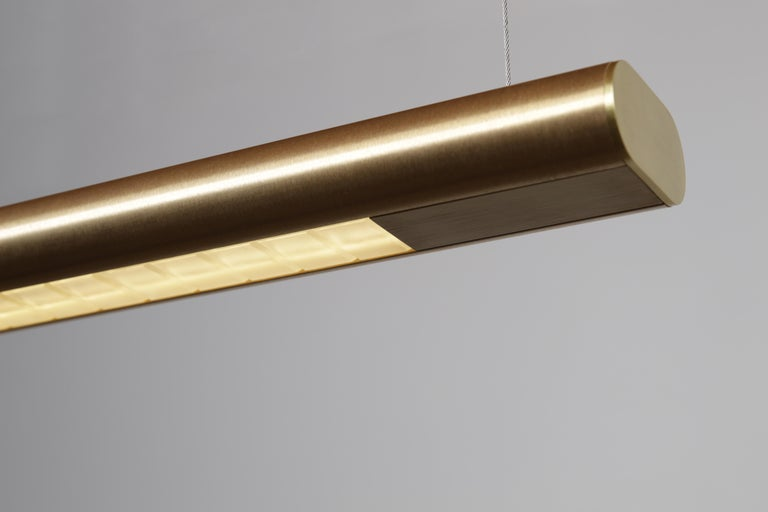 American Brushed Brass Linear Light, Modern and Minimal Horizontal Yakata Pendant Light For Sale