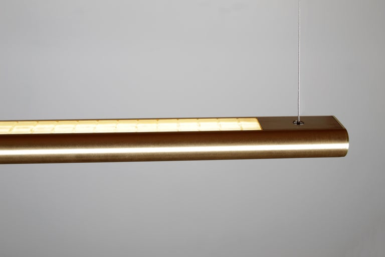 Contemporary Brushed Brass Linear Light, Modern and Minimal Horizontal Yakata Pendant Light For Sale
