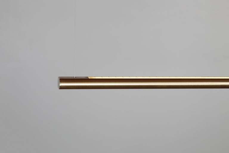 Brushed Brass Linear Light, Modern and Minimal Horizontal Yakata Pendant Light For Sale 1