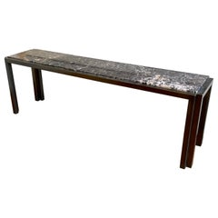 Brushed Brass & Marble Long & Low Console Table by Mastercraft