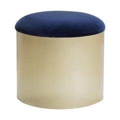 "Brushed Brass ""Mushroom"" Pouf in Velvet by Montage"