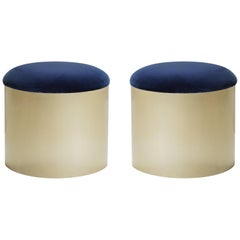 "Brushed Brass ""Mushroom"" Pouf in Velvet by Montage, Pair"