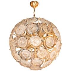 Brushed Brass Sputnik Chandelier with Hand Blown Translucent Murano Glass Discs