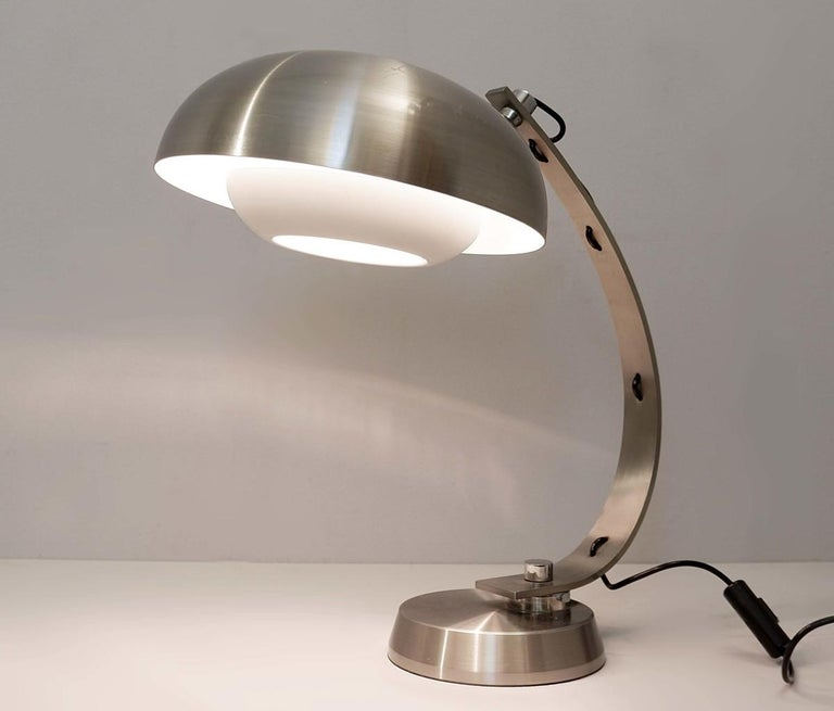 20th Century Mid-Century Modern Brushed Chrome Arc Desk Lamp For Sale