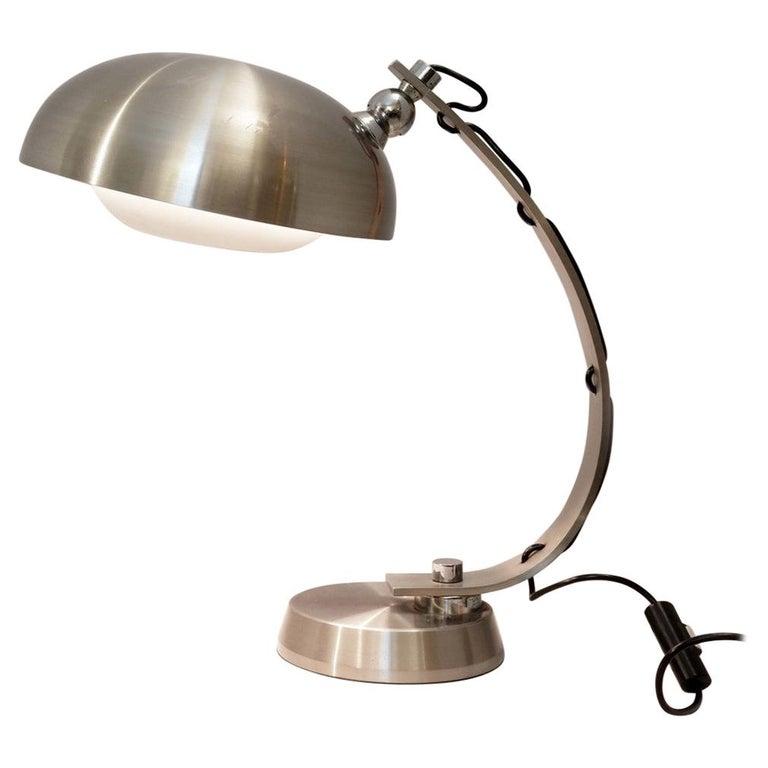 Mid-Century Modern Brushed Chrome Arc Desk Lamp For Sale