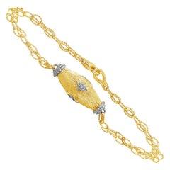 Roman Malakov Brushed Gold and Diamond Rounded Bracelet
