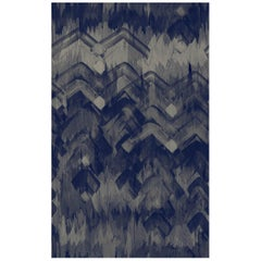 Brushed Herringbone Wallpaper in Blue by 17 Patterns