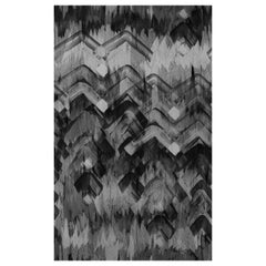 Brushed Herringbone Wallpaper in Charcoal by 17 Patterns