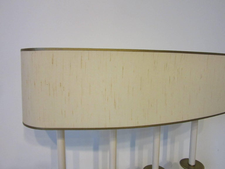 Brushed Metal and Brass Table Lamp in the Manner of Stiffel and Tommy Parzinger In Good Condition For Sale In Cincinnati, OH