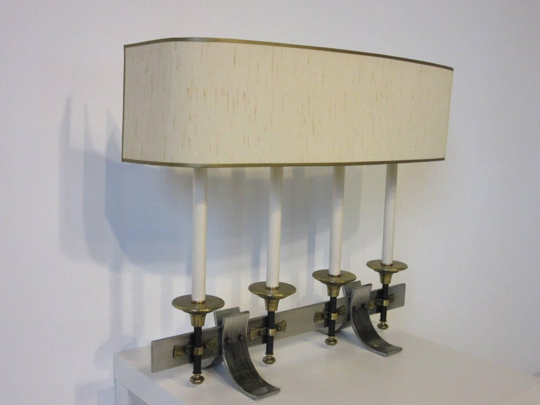 Brushed Metal and Brass Table Lamp in the Manner of Stiffel and Tommy Parzinger For Sale 1