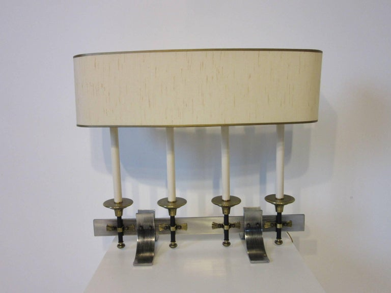 Brushed Metal and Brass Table Lamp in the Manner of Stiffel and Tommy Parzinger For Sale 3
