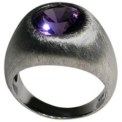 Brushed Silver Ring with Cultured Color Change Sapphire