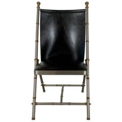 Brushed Steel and Brass Campaign Style Chair with Leather