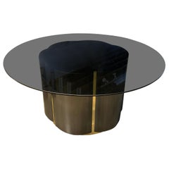Brushed Steel and Brass Clover Table