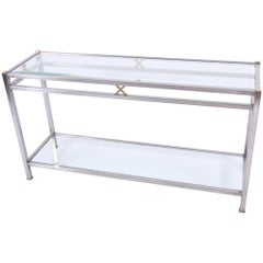 Brushed Steel and Brass Console Table with Bevelled Glass Shelves