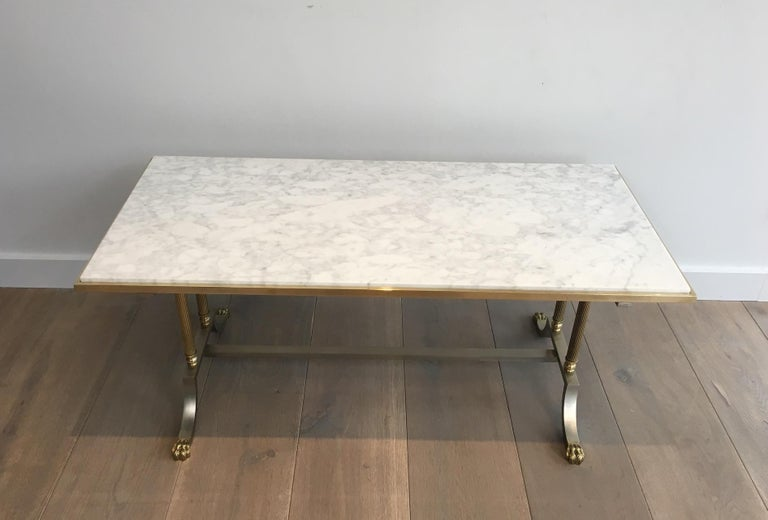 Brushed Steel and Brass Lion Feet Coffee Table with White Marble Top, circa 1940 For Sale 11
