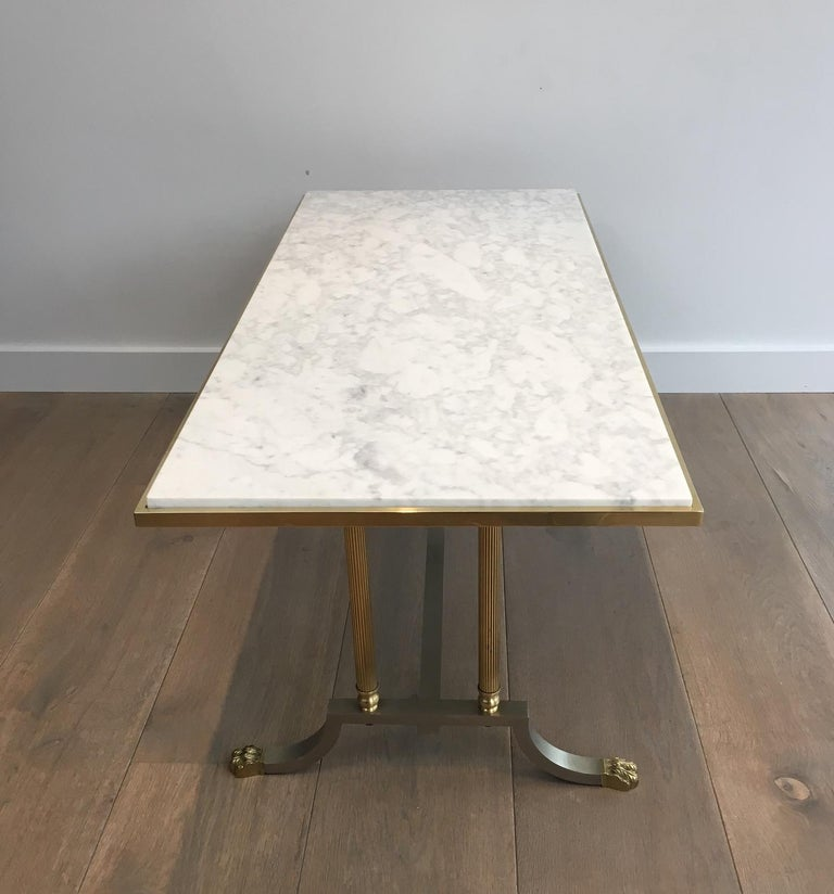Brushed Steel and Brass Lion Feet Coffee Table with White Marble Top, circa 1940 For Sale 12