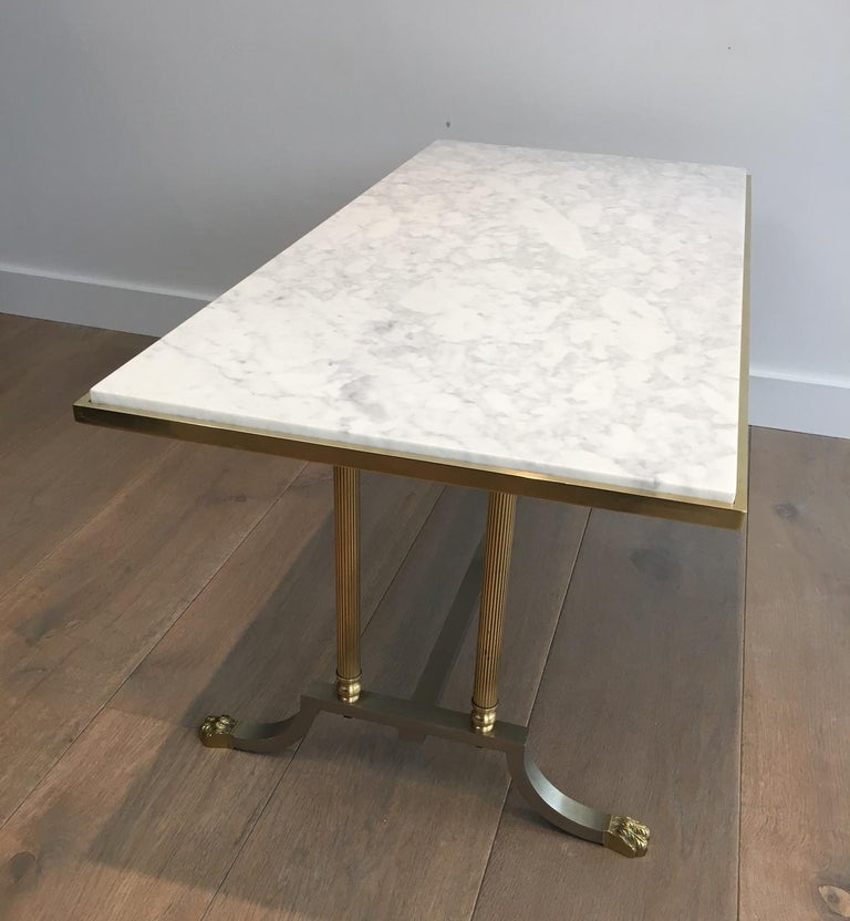 Brushed Steel and Brass Lion Feet Coffee Table with White Marble Top, circa 1940 For Sale 13