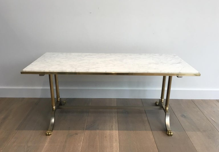 Brushed Steel and Brass Lion Feet Coffee Table with White Marble Top, circa 1940 For Sale 14