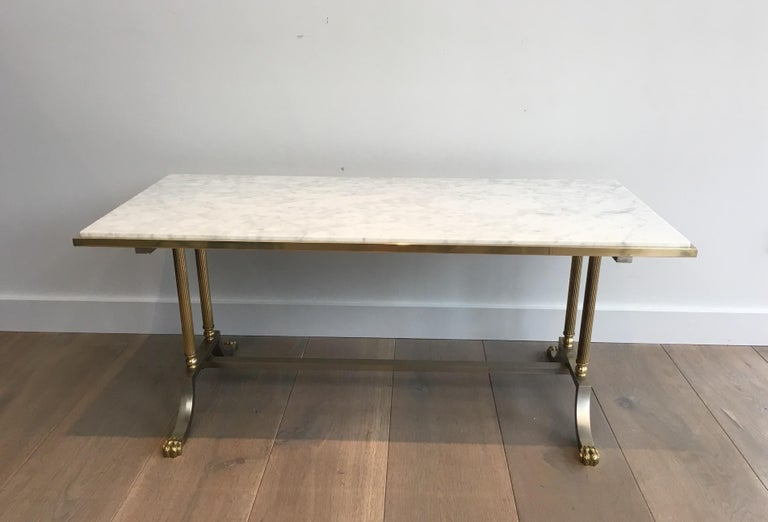 Neoclassical Brushed Steel and Brass Lion Feet Coffee Table with White Marble Top, circa 1940 For Sale