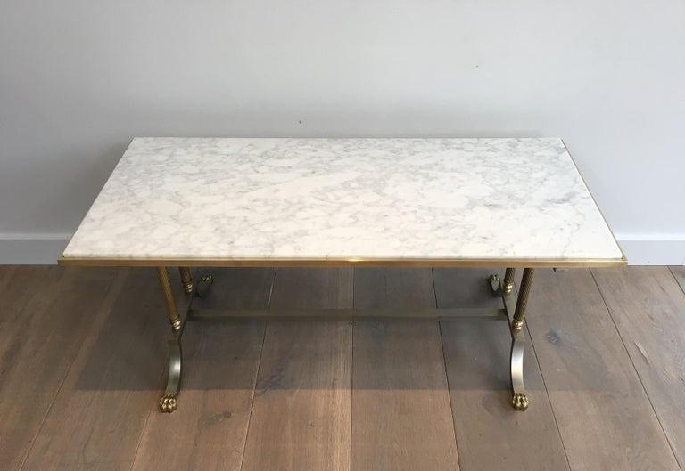 French Brushed Steel and Brass Lion Feet Coffee Table with White Marble Top, circa 1940 For Sale