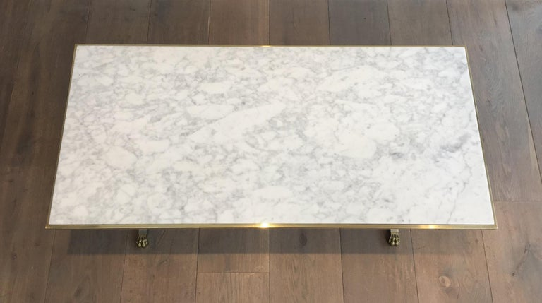 Mid-20th Century Brushed Steel and Brass Lion Feet Coffee Table with White Marble Top, circa 1940 For Sale