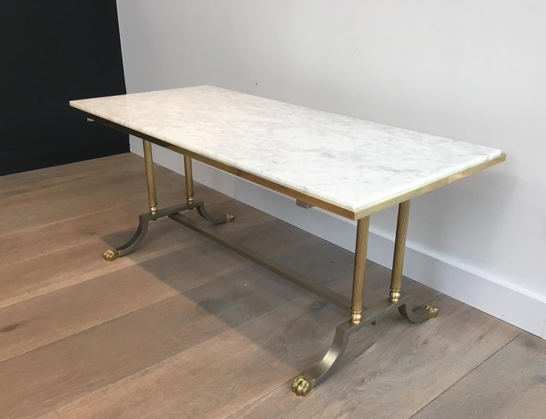Brushed Steel and Brass Lion Feet Coffee Table with White Marble Top, circa 1940 For Sale 2