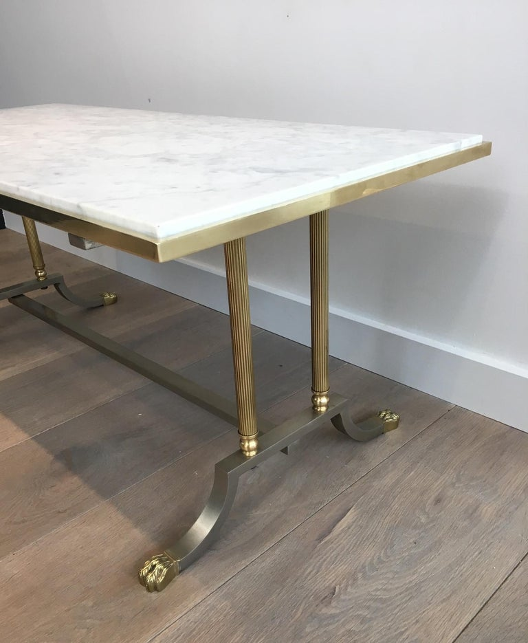 Brushed Steel and Brass Lion Feet Coffee Table with White Marble Top, circa 1940 For Sale 3