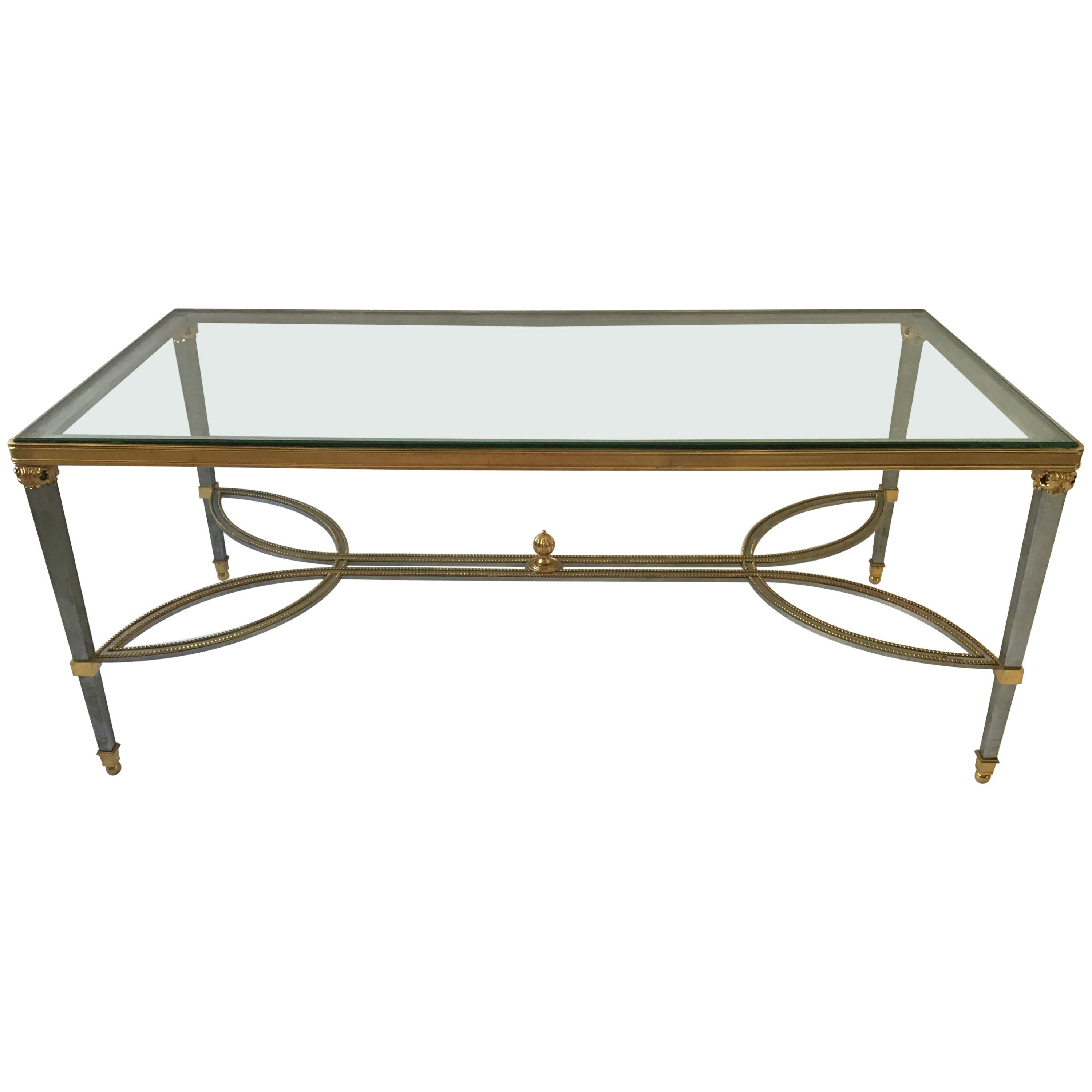 Brushed Steel and Gold-Plated Elegant Cocktail Table