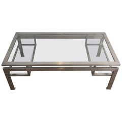 Brushed Steel Coffee Table with Small Glass on Each Side