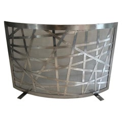 Brushed Steel Design Fireplace Screen, French, Circa 1970