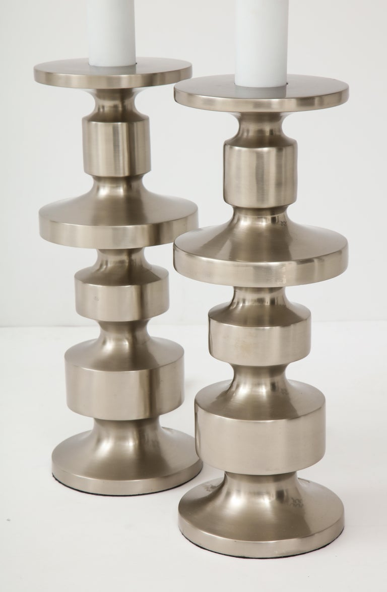 20th Century Brushed Steel Totem Lamps For Sale