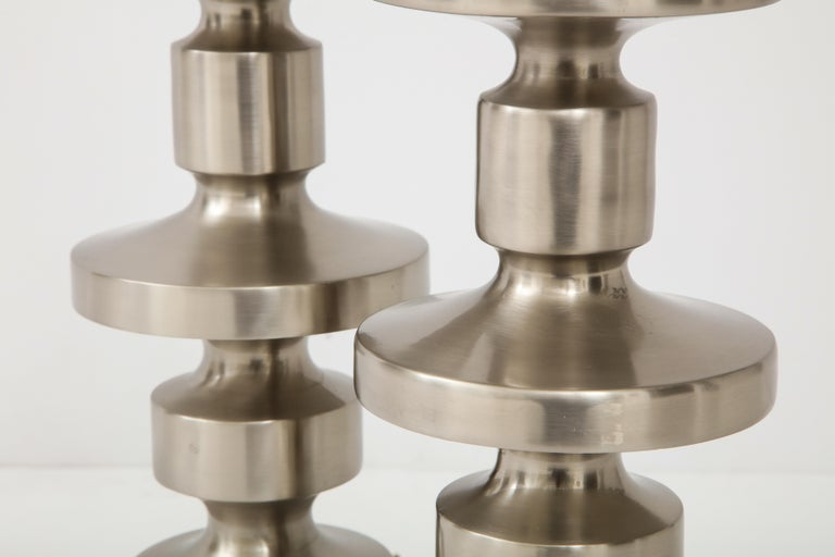 Brushed Steel Totem Lamps For Sale 1