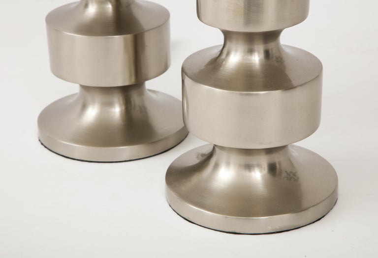 Brushed Steel Totem Lamps For Sale 2