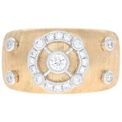 Brushed Yellow Gold Diamond Fashion Ring