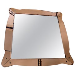 Brusotti Fontana Arte Mirror 1940 Glass Wood Metal Crome, Italy