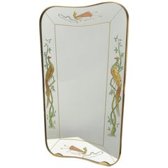 Brusotti Mirror Glass Brass Wood, 1940, Italy