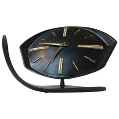 Brussel Mechanical Table Clock in Black Bakelite, 1950s