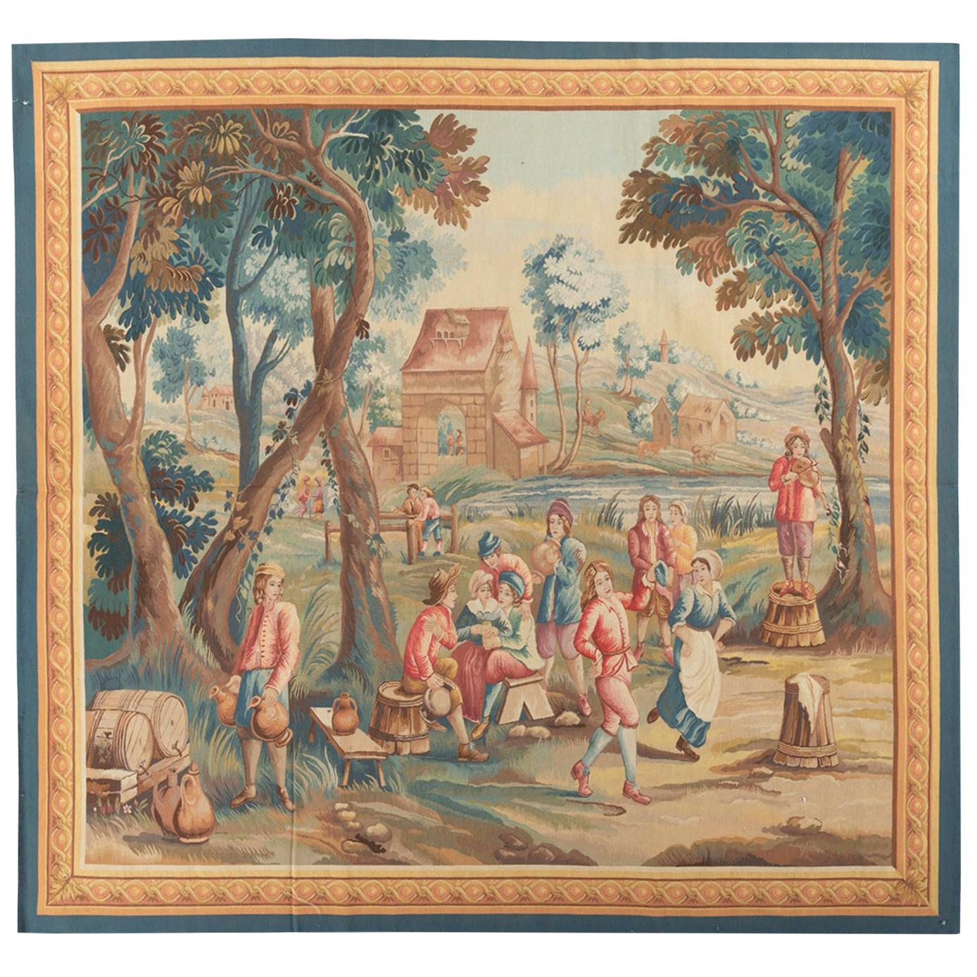 Brussels 18th Century Teniers Style Tapestry 7'9 x 8'7