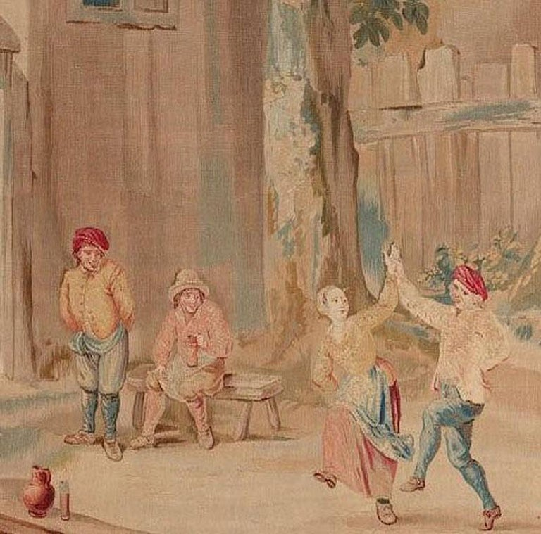 Belgian Brussels 18th Century Teniers Tapestry, circa 1780  8' x 6'7 For Sale