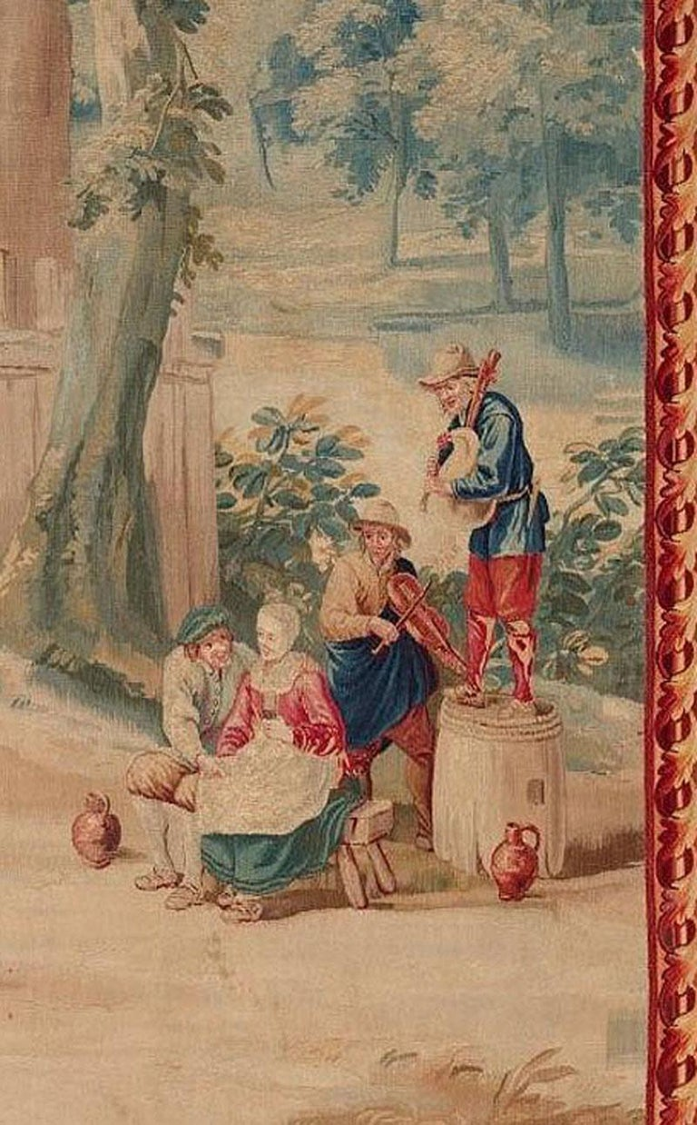 Hand-Woven Brussels 18th Century Teniers Tapestry, circa 1780  8' x 6'7 For Sale