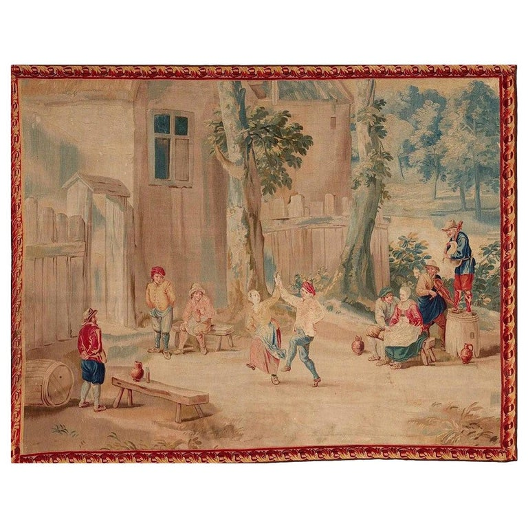 Brussels 18th Century Teniers Tapestry, circa 1780  8' x 6'7 For Sale