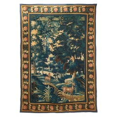 Brussels Verdure Tapestry of Deer in a Wooded Landscape, circa 1750