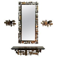 Brutal Mirror, Console and Sconces by Syroco