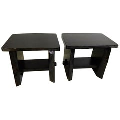 Brutal Style Live Edge Blackened Side Tables/ Benches