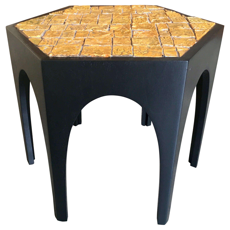 Brutal Tile Top Side Table