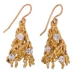 Brutalist 14 Karat Gold and Diamond Pendant Earrings